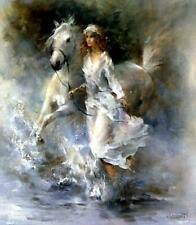 """YA473 CANVAS 100% hand-painted oil painting Girl and Horse Unframed 36"""""""