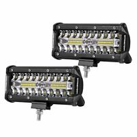 2Pcs 72W/120W LED Light Bar Spot Flood Combo Beam Work Driving Fog Lights Lamp