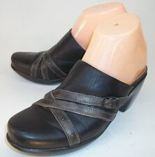 Naot Womens US 6 EU37 Black Gray Straps Leather Slip-on Casual Clogs Mules Shoes
