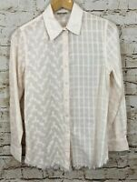 Anthropologie Holding Horses button shirt womens small eyelet floral plaid C1