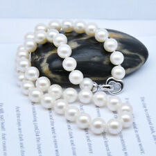 Single genuine 9-10mm wthie Freshwater cultured natural Pearl necklace 18""