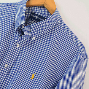 Mens Ralph Lauren Blue White Gingham Custom Fit Long Sleeve Shirt XL Extra Large