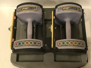 1 Pair Power Block Sport 24 Block Adjustable Weight 6-12lbs Only Dumbbell Set