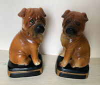 Pair Of Vintage Takahashi San Francisco Boxer Bookends Gold Tags Intact Ceramic