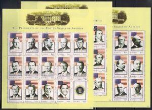 Liberia  2009  Sc # 2567-69  Presidents   3 sheets of 15   MNH   (46056)