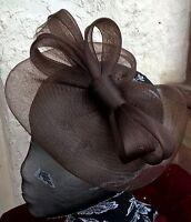 dark brown fascinator millinery burlesque wedding hat ascot race bridal party