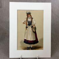 1890 Antico Vittoriano Stampa Moda Costume Tradizionale Svizzera Folk Abito