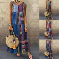Womens Summer Maxi Boho Print Sleeveless Strap Loose Party Long Bodycon Dress