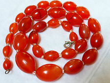 CHINESE VINTAGE CARNELIAN AGATE BEAD NECKLACE, 60 GRAMS