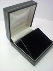 Classic Black Leatherette earring Box Lid lined with White satin 1.5.10 a