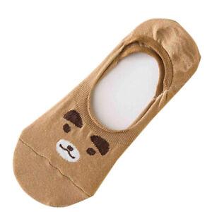 3/5 Pairs Women Cotton Invisible Footsies Cartoon Bear Rabbit Casual Shoe Socks