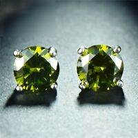 925 Sterling Silver Round Green Peridot Solitaire Stud Earrings