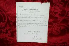 Antico Documento Opera Parrocchiale di San Bartolomeo di Parma 1869