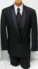 New Black Raffinati Double Breasted Tuxedo Jacket Big and Tall Wedding Prom 70R