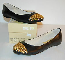 New $165 Michael Kors Aria Ballet Flats Black Gold Studs Slip On Leather 7