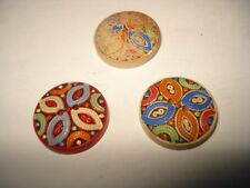 ANTIQUE 3 WOOD BUTTONS HANDMADE HANDPAINTED ROUND BUTTONS MODELLE DEPOSE