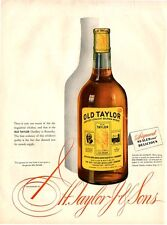 1944 Old Taylor PRINT AD Whiskey Vintage Bottle Great For Man Cave Bar Theme rm