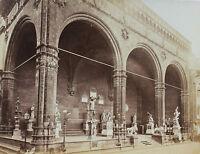 Italia Florence Firenze, Loggia Dei Lanzi , Vintage Albume D'Uovo, Ca 1875