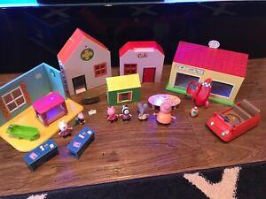 Peppa pig figure Bundle Playset Multi Houses Supermarket Hospital Accessories