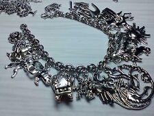Game of Thrones inspired charm bracelet 21 Tibetan silver charms dragon direwolf
