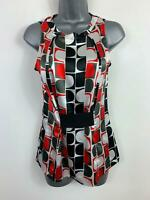 WOMENS ZARA MULTICOLOURED SMART/CASUAL SLEEVELESS BLOUSE/SHIRT SIZE EURO S SMALL
