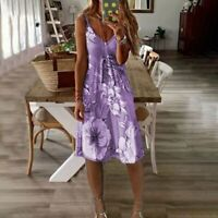 Purple Women's V-neck Floral Print Fit & Flare Summer Dress - Sizes - 10 to 20