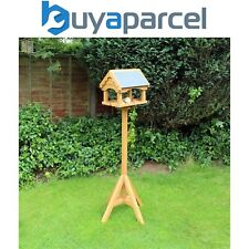 Kingfisher Slate Effect Roof Wooden Free Standing Wild Bird Table House Feeder