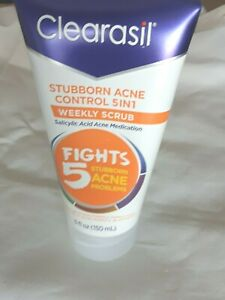 Clearasil Stubborn Acne Control 5 in1 Weekly Scrub Salicylic Acid 5 oz