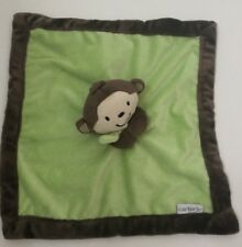 Carters Baby Lovey Green Brown Plush Monkey Velour Security Blanket