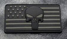 Punisher Skull USA Flag Police Swat 3D PVC Rubber Hook Patch