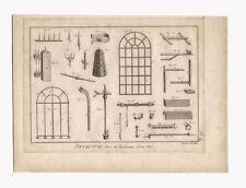 1785 Locksmith Hardware Engraving, Serrurerie Fers de Bâtiment Gros Fers Benard