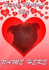 Staffordshire Bull Terrier Mother's Day Personalised Greeting Card Mum Nan HM230