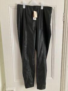 LIPSY Abby Clancy  Black Faux Leather Skinny Trousers Jeggings Leggings BNWT 16