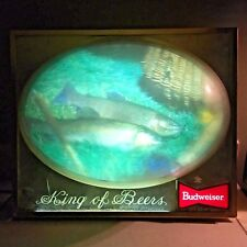 Vintage VTG Lighted 3D Rainbow Trout Fishing Light Budweiser King of Beers Sign