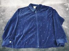 Quacker Factory Womens Cotton Sequin Jacket Size 3X Dark Blue