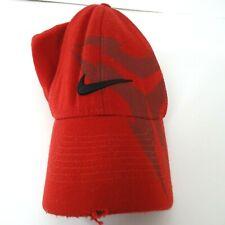 Nike Fitted Cap Swoosh LOGO Men Size Medium Large Red Acrylic Wool Broken-In