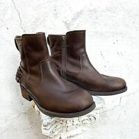 UGG Orion Ankle Moto Boots US 8 Eur 39 Oiled Leather Brown Stout