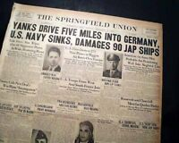 1ST U.S. ARMY Enters Germany FOR 1ST TIME Into Reich 1944 World War II Newspaper
