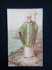 Ancienne image pieuse canivet saint avec des seepents