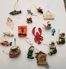 Lot Christmas Tree Ornaments Fishing Boating Lobster Crab Fish Theme