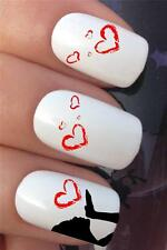 WATER NAIL TRANSFERS GIRL BLOWING LOVE HEARTS TATTOO DECALS STICKERS *618
