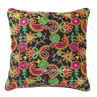 Indian Dupioni Silk Cushion Cover Handmade Embroidery Pillow Case Throw 16""