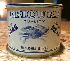 OLD VTG ADVERTISING TIN CAN - EPICURE CAMBRIDGE MD MARYLAND CHESAPEAKE CRAB MEAT