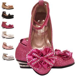 Girls Children Kids Wedding Bridesmaid Low Heels Glitter Party Shoe Size