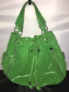 HYPE Neon Spring Green & Hot Pink Snakeskin Leather Purse Tote XL Jimmy Michael