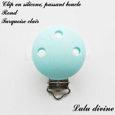 Pince / Clip en silicone, attache tétine, passant boucle, Rond : Turquoise clair