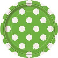 Lime Green & White Polka Dot | Dots 18cm Dessert Cake Party Paper Plates 1-48pk