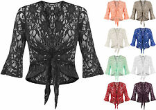 New Plus Size Womens Sequin Lace Tie Up 3/4 Bell Sleeve Ladies Crochet Party Top
