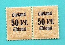 GERMANY ESTONIA LATVIA PAIR REVENUE STAMPS OVERPRINT 50 Pf OB. Ost. 307
