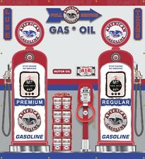 "AMERICAN GAS PUMPS GAS STATION BANNER SCENE AIR STATION OIL RACK SIGNS 60"" X 66"""
